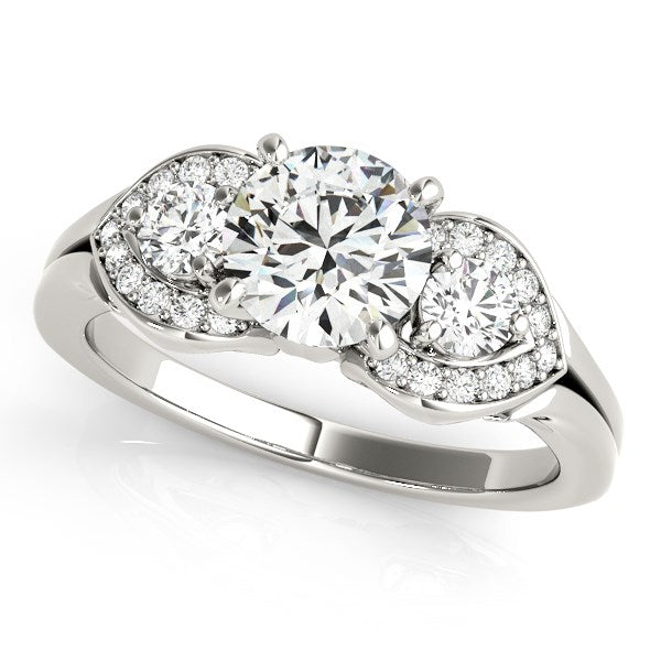 14k White Gold 3 Stone Diamond Engagement Antique Style Ring (1 3/8 cttw)