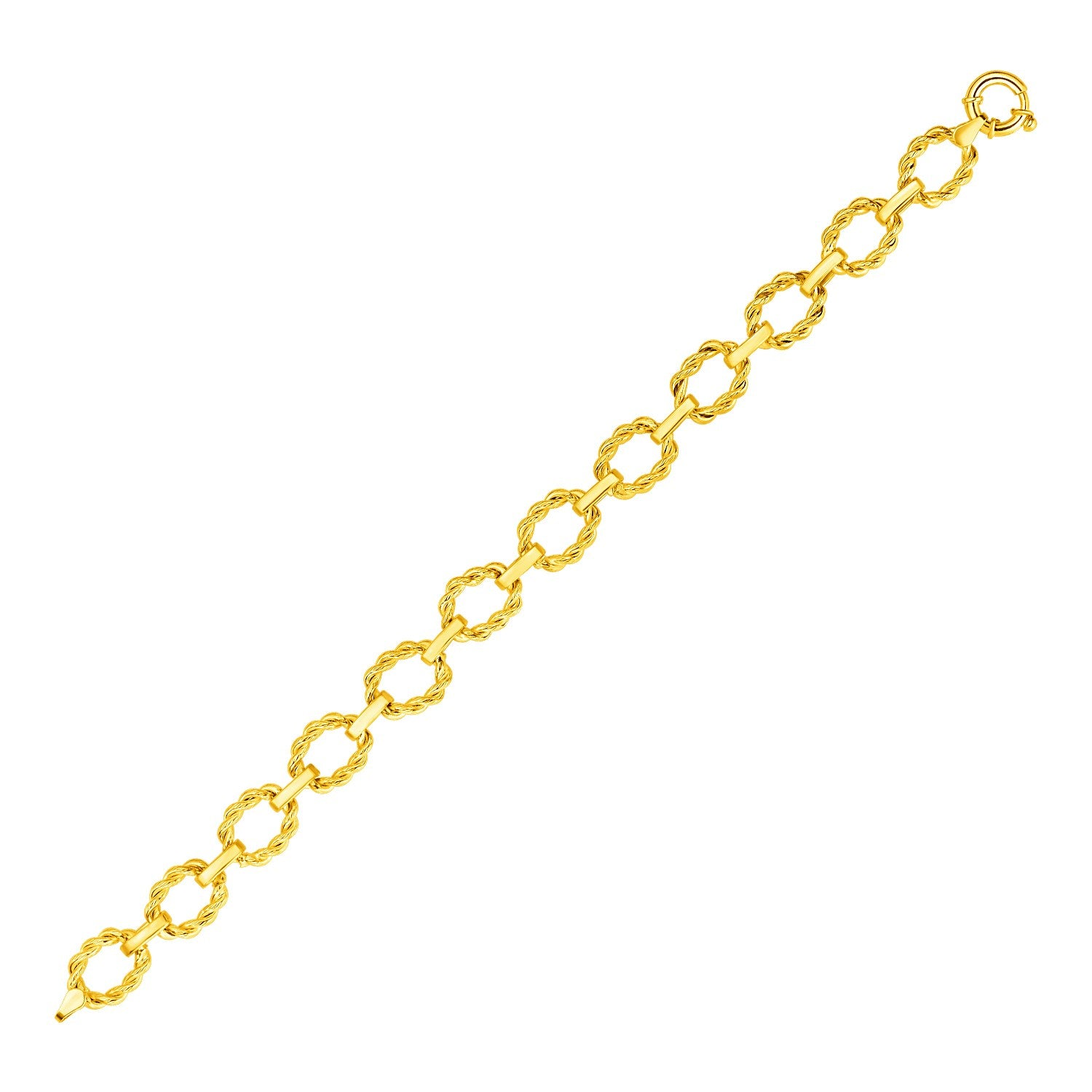 14k Yellow Gold Twisted Oval Link Bracelet