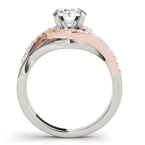 14k White And Rose Gold Bypass Diamond Engagement Ring (1 1/4 cttw)