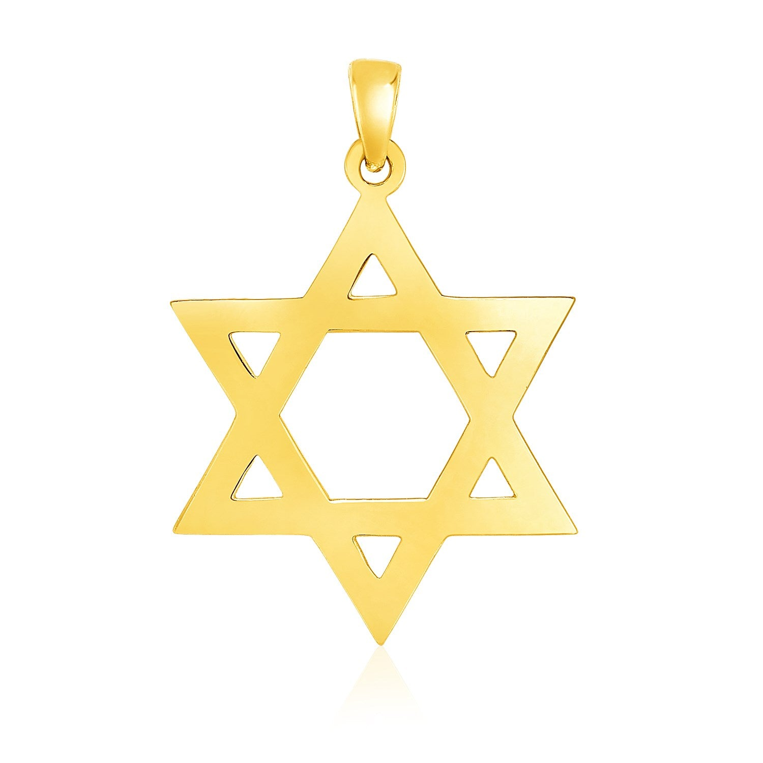 14k Yellow Gold Polished Star of David Pendant
