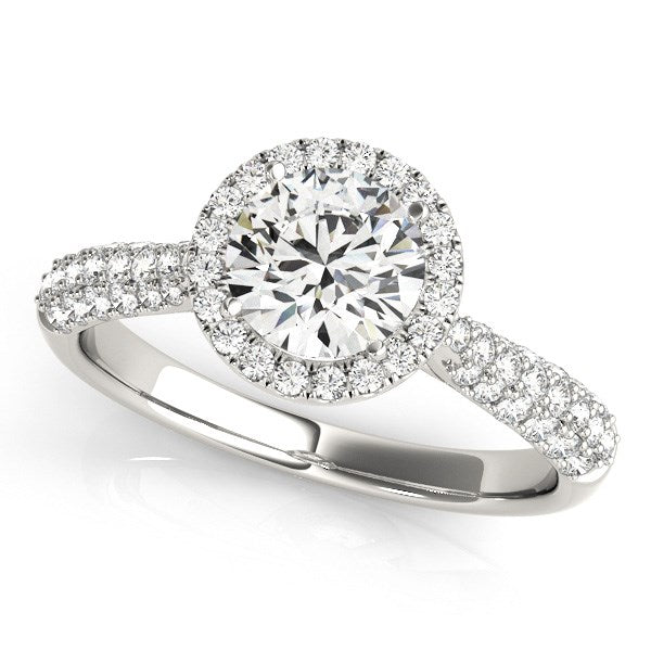 14k White Gold Halo Diamond Engagement Ring with Pave Band (1 1/3 cttw)