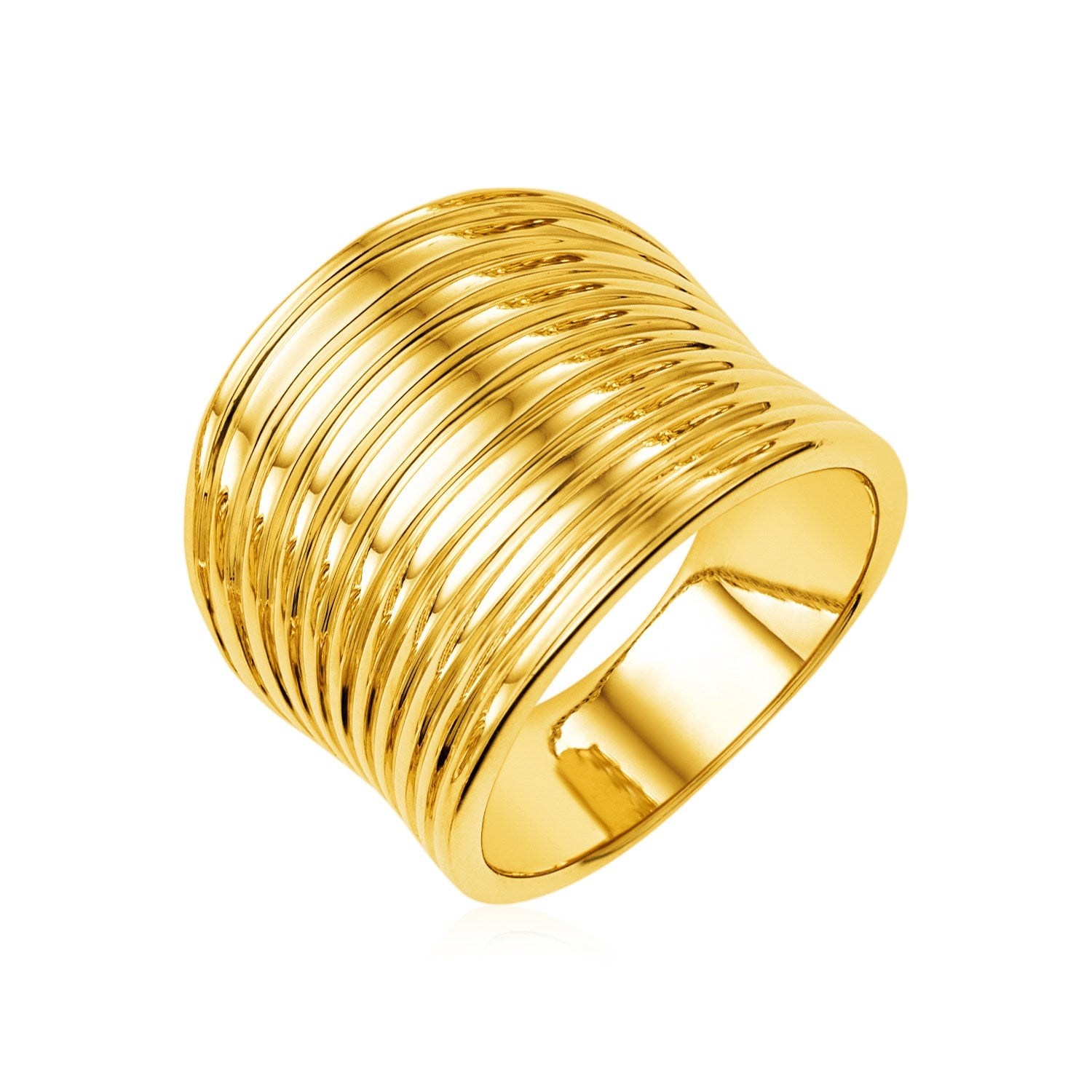 14k Yellow Gold Polished Multi Band Ring