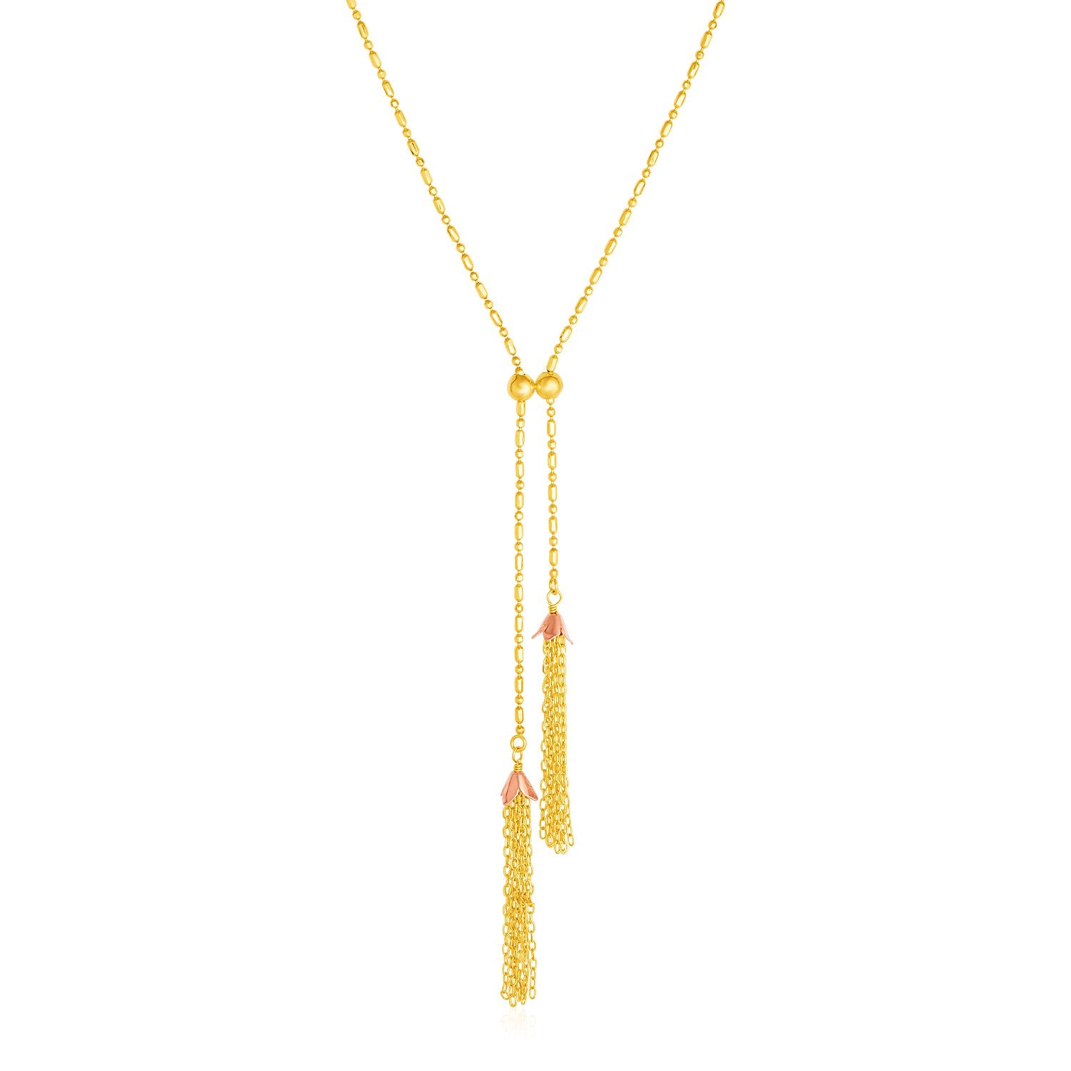 14k Two Tone Gold Lariat Necklace with Tassels