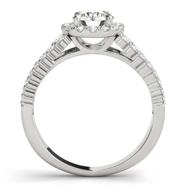 14k White Gold Graduated Pave Set Shank Diamond Engagement Ring (1 5/8 cttw)