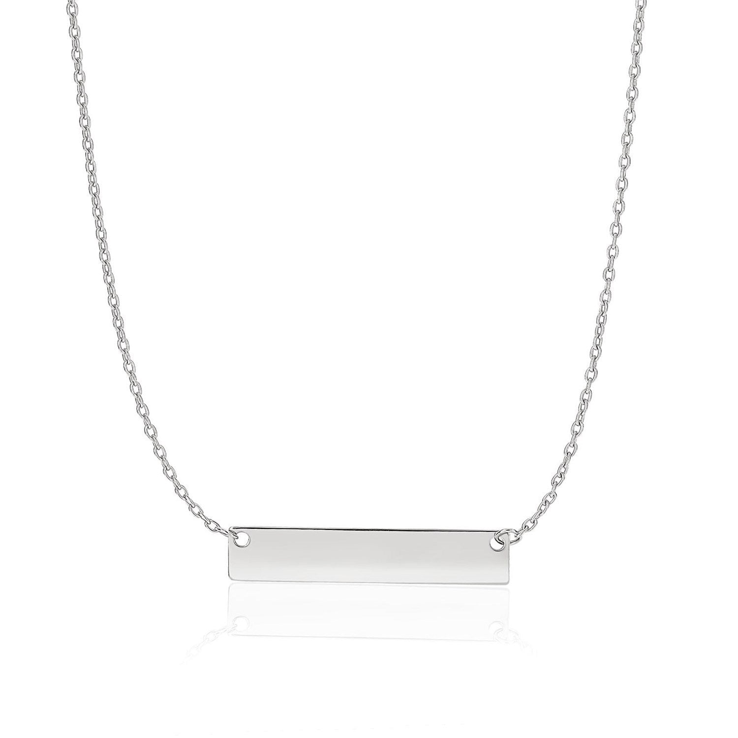 14k White Gold Smooth Flat Horizontal Bar Style Necklace