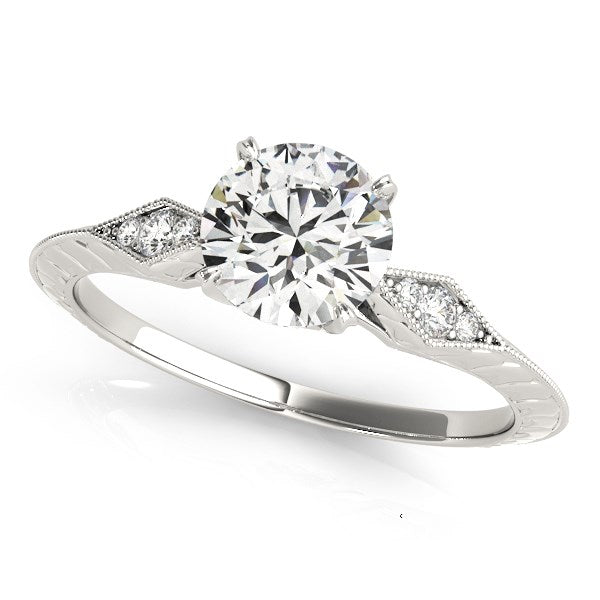 14k White Gold Diamond Engagement Ring with Side Clusters (1 1/8 cttw)