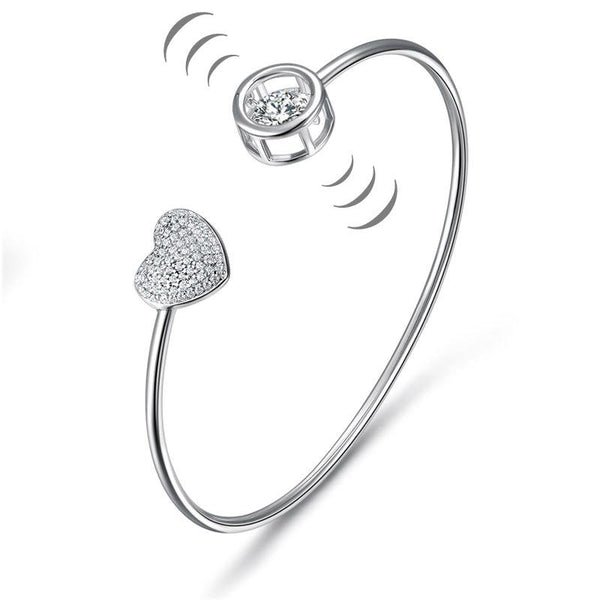 Dancing Stone Heart Bangle Solid 925 Sterling Silver Bridal Wedding XFB8016