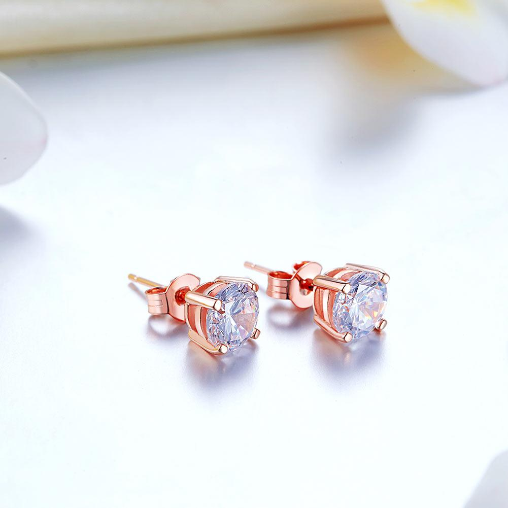 1 Carat Created Diamond Stud Earrings 925 Sterling Silver Rose Gold Plated  XFE8