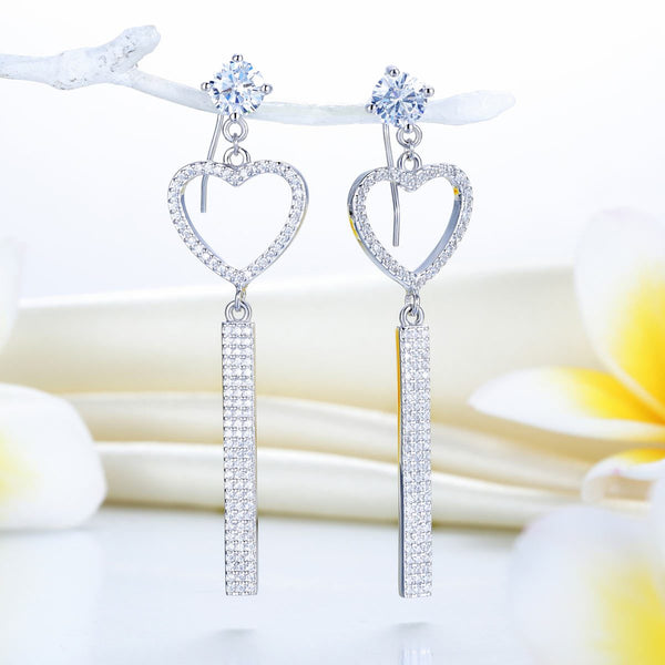Dangle Heart Luxury Solid 925 Sterling Silver Earrings for Wedding Party