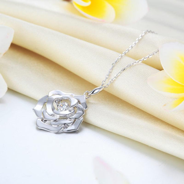 Rose Dancing Stone Pendant Necklace 925 Sterling Silver Good for Wedding Bridesm