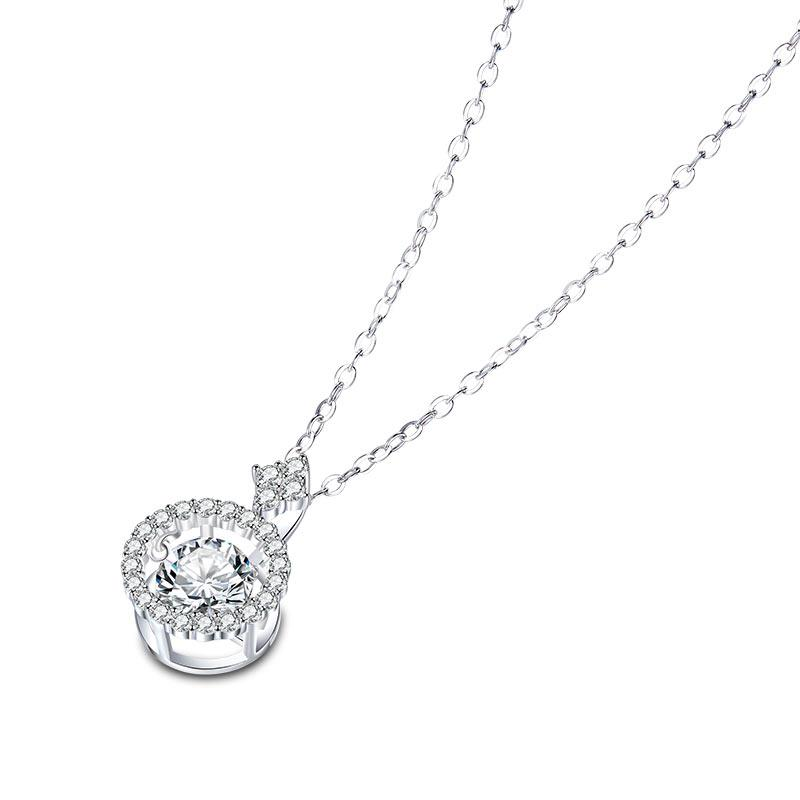 1 Carat Moissanite Diamond Dancing Stone Necklace 925 Sterling Silver XFN8137