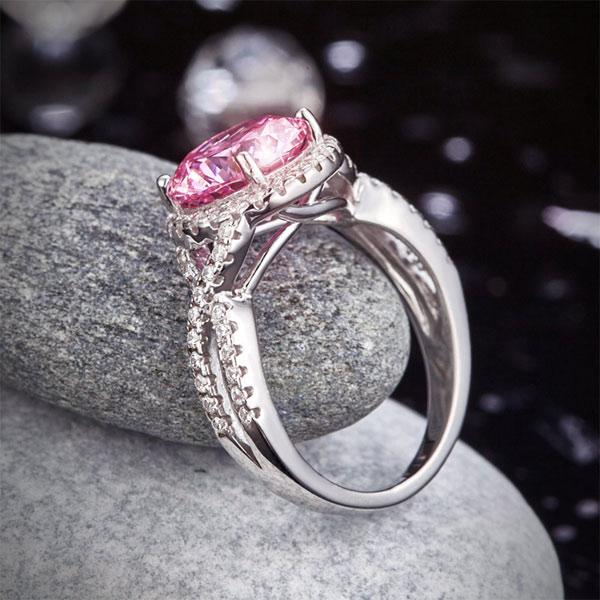 3 Carat Fancy Pink Created Diamond 925 Sterling Silver Wedding Engagement Luxury