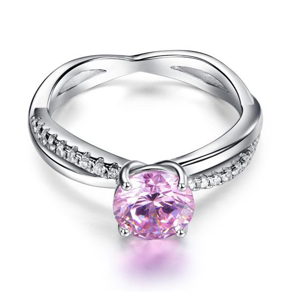 925 Sterling Silver Wedding Promise Anniversary Ring 1.25 Ct Fancy Pink Created