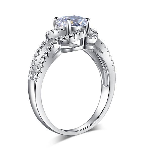 Floral 925 Sterling Silver Wedding Promise Engagement Ring 1 Ct Created Diamond