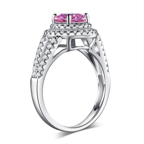 Double Halo 925 Sterling Silver Wedding Engagement Ring 1.25 Ct Fancy Pink Creat