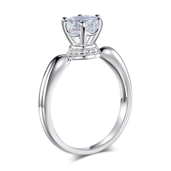 6 Claws Crown 925 Sterling Silver Wedding Promise Anniversary Ring 1.25 Ct Creat