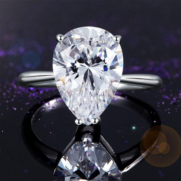 Solid 925 Sterling Silver Luxury Ring Solitaire Pear 4.5 Carat Wedding Engagemen