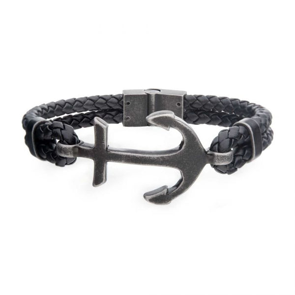 Black Antiqued Double Anchor Leather Bracelet