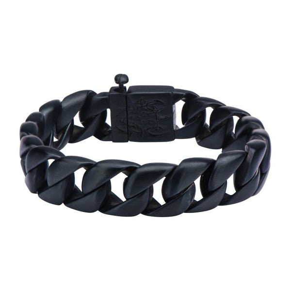 Black Plated Curb Chain Bracelet. 8 1/2 inch long