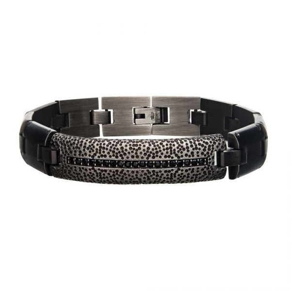 Stainless Steel Antique Bronze Plated and Black CZ with Adjustable Link Bracelet.