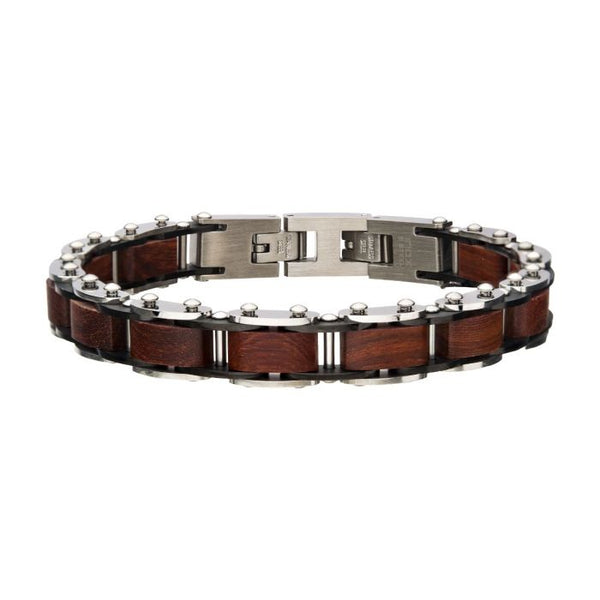 Stainless Steel with Red Sandal Wood Link Bracelet