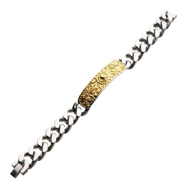 Steel with Gold IP Nymeria Lion ID Chain Bracelet