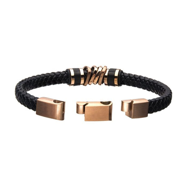 Black Braided Leather with Rose Gold IP Serrated Station Bracelet