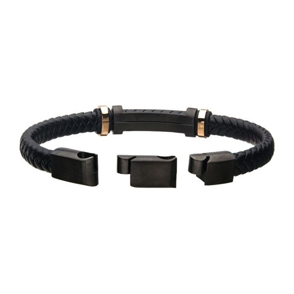 Black Leather with Rose Gold IP Beads & Black IP Engravable ID Bracelet