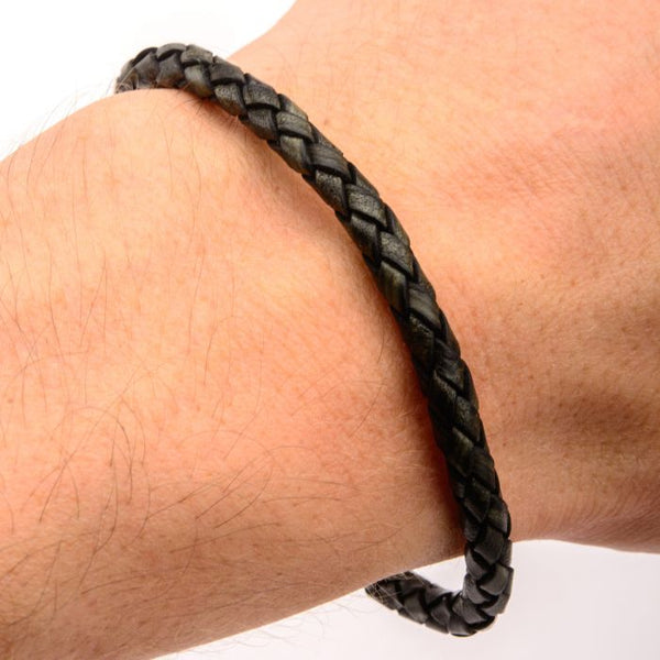 Single Round Black Braided Italian Antique Leather Bracelet