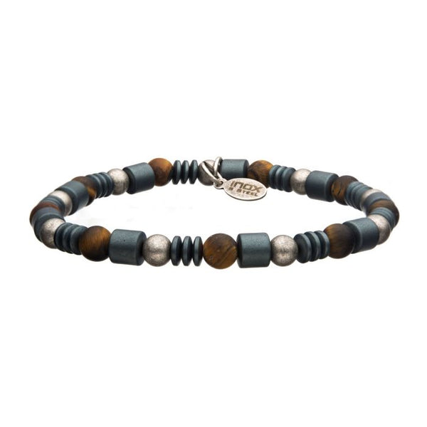 6mm TigerEye Beads with Hematite Beads String Bracelet