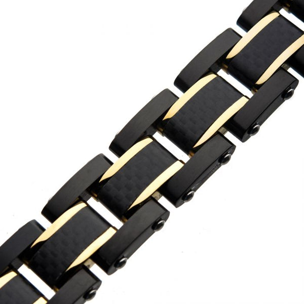 Black Plated, Blue Plated and Solid Carbon Fiber Center Link Bracelet