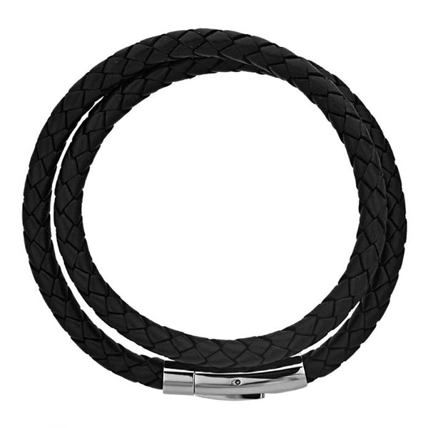 Double Round Black Braided Genuine Bracelet