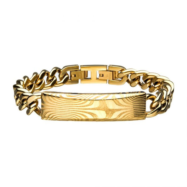 Damascus Steel Gold Plated ID with Curb Chain Bracelet