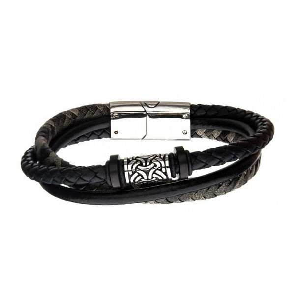 Black Plated and Antiqued Finish Drum Beads with Black Leather Layered Bracelet