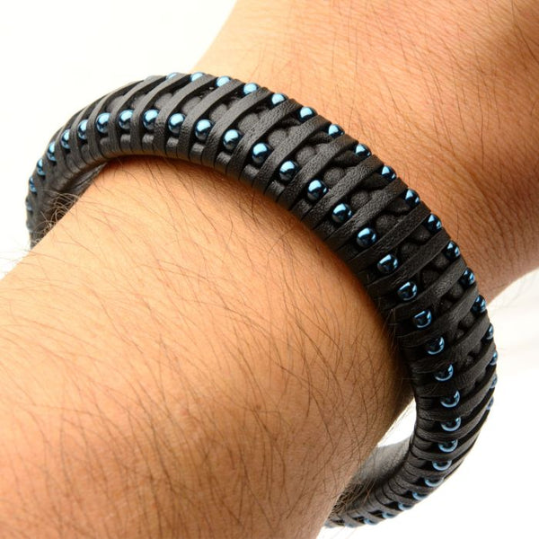 Black Leather with Blue Plated Ball Edge Bracelet