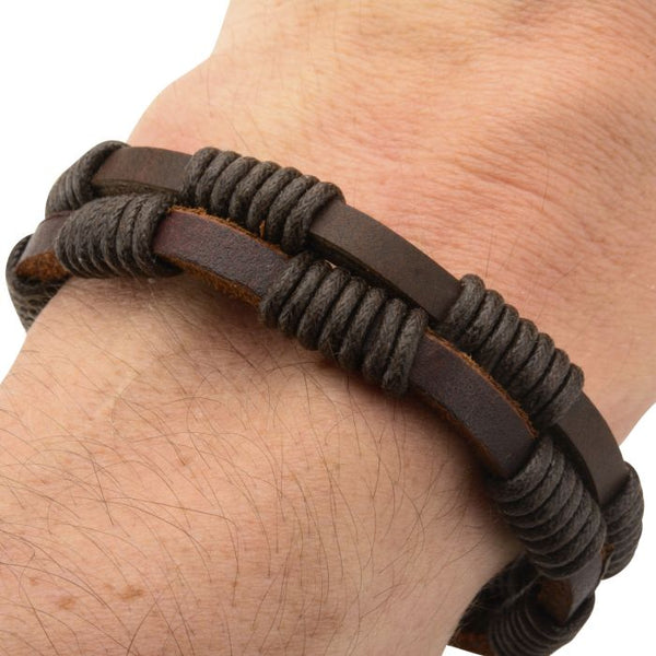 Double Brown Leather Bracelet with Rope