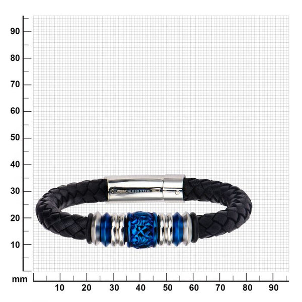 Steel and Blue Plated Bead in Black Braided Leather Bracelet