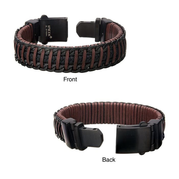 Red & Brown Weave Leather with Black Chain Bracelet