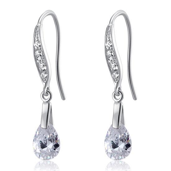 2 Carat Pear Cut Created Diamond 925 Sterling Silver Dangle Earrings XFE8018