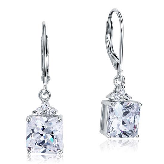 2 Carat Princess Cut Created Diamond Dangle Drop 925 Sterling Silver Earrings XF