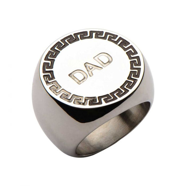 Engraved DAD with Round Greek Key Design Ring
