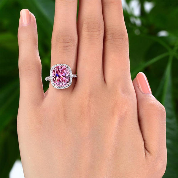 Solid 925 Sterling Silver Luxury Engagement Ring 6 Ct Cushion Fancy Pink Created