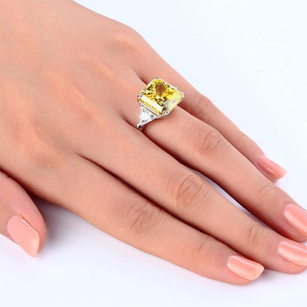 Solid 925 Sterling Silver Three-Stone Luxury Ring 8 Carat Yellow Canary Created