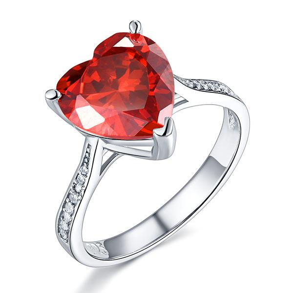 925 Sterling Silver Bridal Ring 3.5 Carat Heart Ruby Red Created Diamond Jewelry