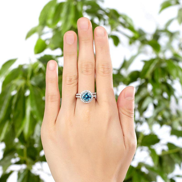 925 Sterling Silver Wedding Engagement Halo Ring Set 2 Carat Blue Created Diamon