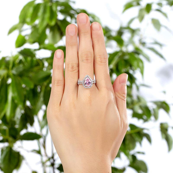 Sterling 925 Silver Bridal Wedding Engagement Ring Set 2 Carat Pear Fancy Pink C