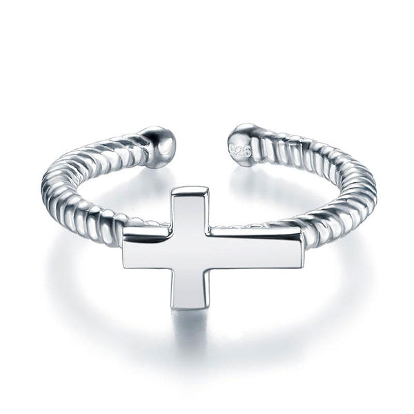 Kids Girls Cross Ring Solid 925 Sterling Silver Children Jewelry Adjustable XFR8