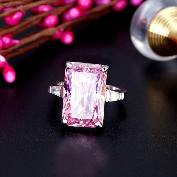 8.5 Carat Pink Created Diamante Stone Solid 925 Sterling Silver Ring Party Luxur
