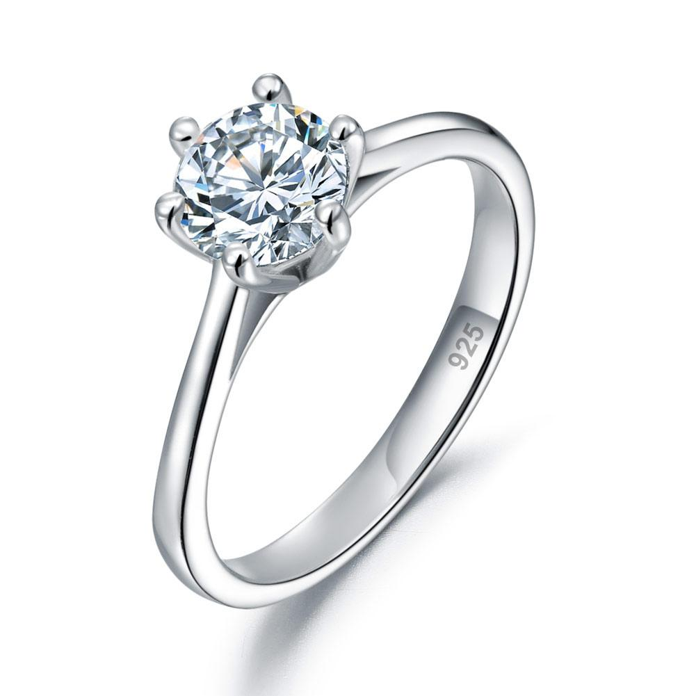 1 Carat Created Diamond Engagement Ring 925 Sterling Silver Classic 6 Claws XFR8