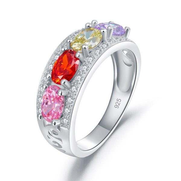 Wedding Band Multi-Color Stone Anniversary Solid 925 Sterling Silver Ring Jewelr